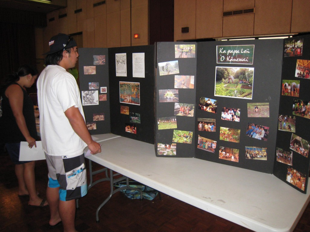 A UH Mānoa student takes in some of the Ka Papa Loi photos at the Native Pacific Health Fair.
