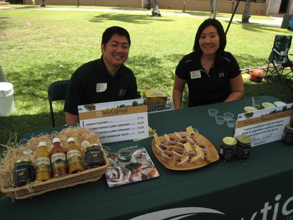 Reid Igawa and Jill Honda of the UH Bookstore gave out tasty samples of Kulanui products, developed by College of Tropical Agriculture and Human Resources students.