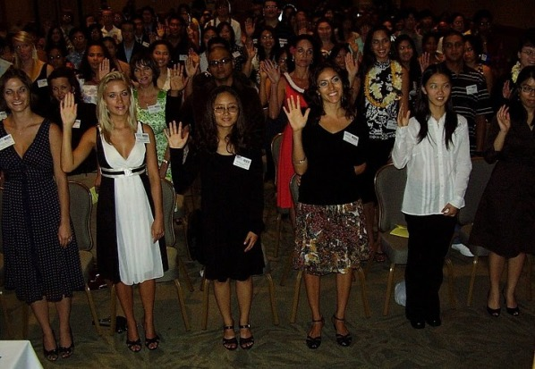 PBK candidates are sworn in, using the language of the 1771 PBK ritual, at the 2008 induction ceremony at the Ala Moana Hotel.