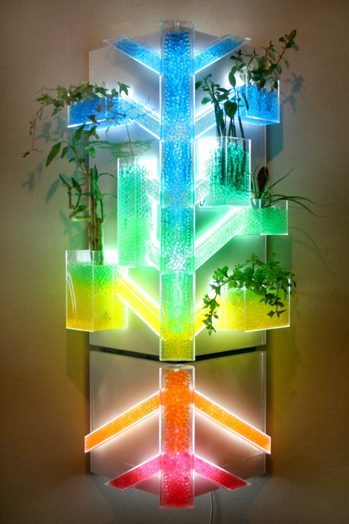 "This ""A Beautiful Tomorrow"" light fixture by Shau Yu Lin is great for people without a green thumb, since plants can thrive in the crystal soil for long periods of time."