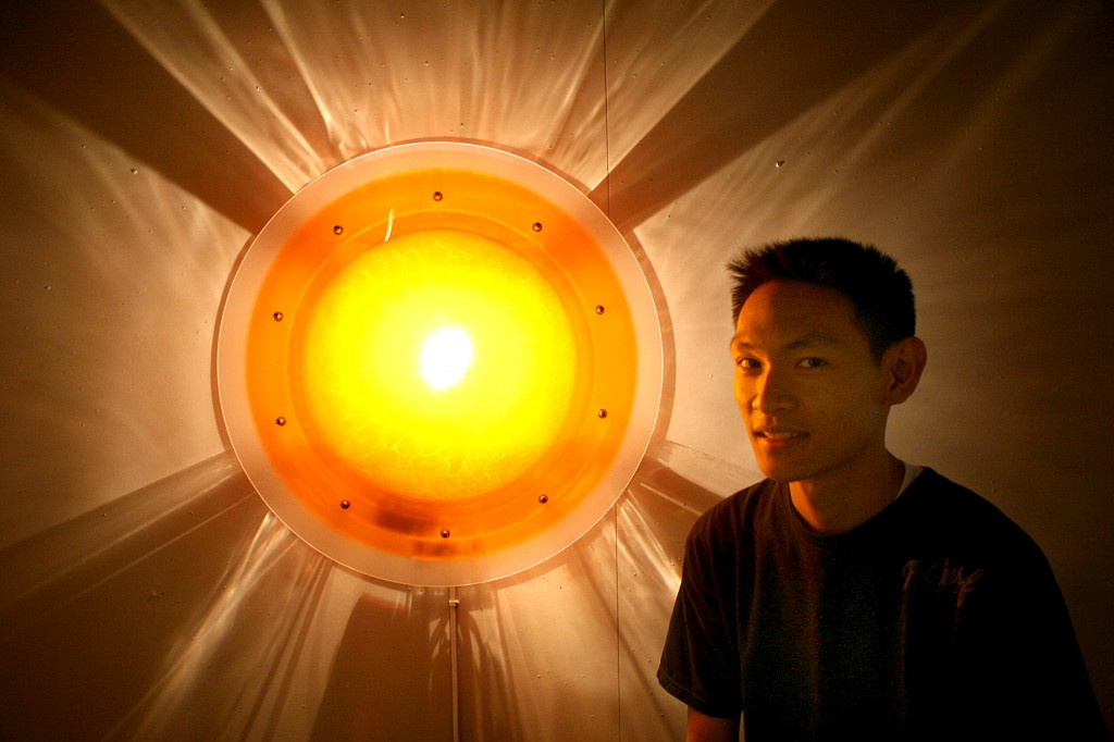 Howard Shek's light creation utilizes a pump to create sun rays on the wall and ceiling.