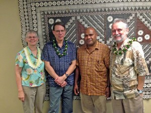 PIMS Managing Editor Jan Rensel (far left) and PIMS Editor Tarcisius Kabutaulaka (second from right) join authors David Akin and David Chappell at the launch. Photo by Alan Howard.