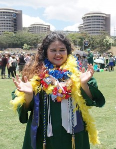 Alyssa Nakasone at spring commencement. Photo by Stefanie Vivian Jim.