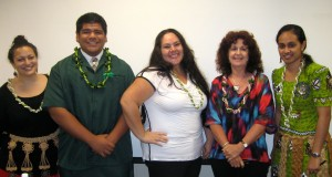 Panel participants (from left to right) Lee Kava, Siufaga Lousiale Kava, Patricia Fifita, Dr Helen Lee, and JʻNelle ʻUluʻave. Photo by Katherine Higgins.