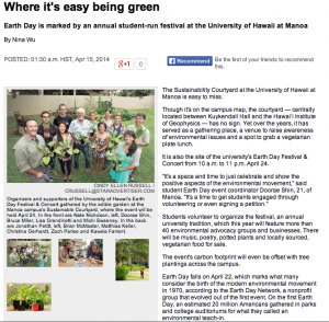 Where its easy being green earth day 2014 star advertiser