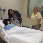 "Noreen and Hazel visiting a ""patient"" at WH NLRC"
