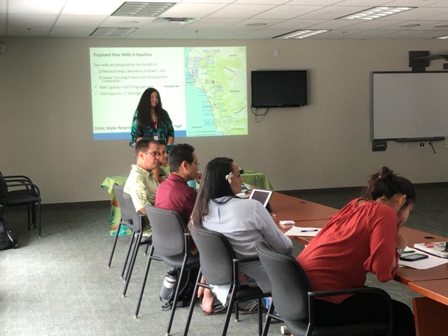 Tereari'i Chandler-'Īao answered questions from attendees at the West Hawai'i Civic Center in Kona