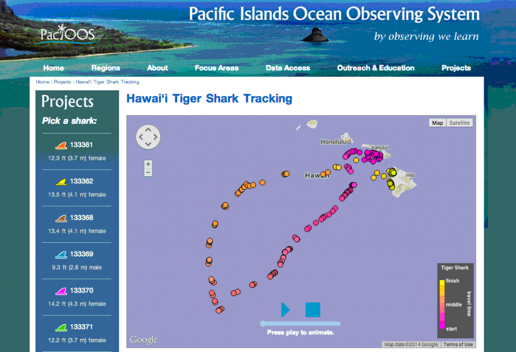 Example Tiger Shark Track on the PacIOOS website.
