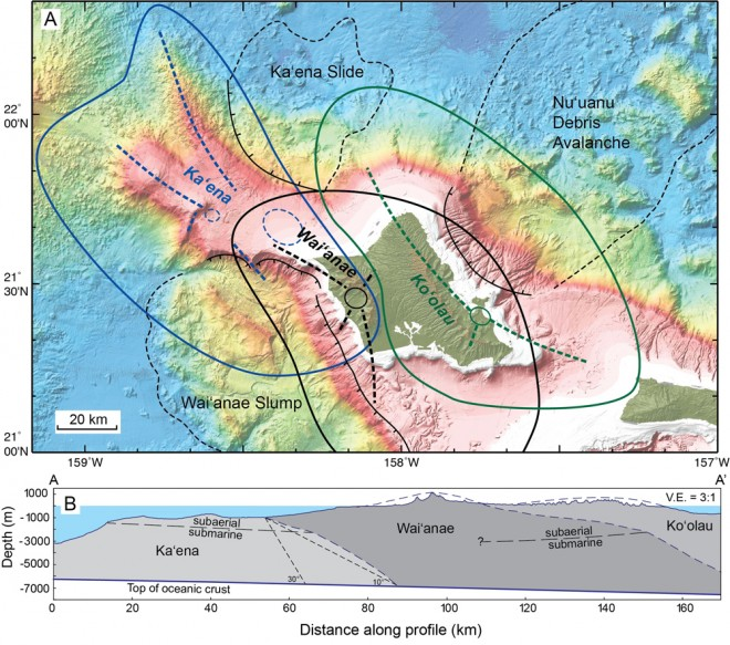 Map showing volcanoes thought to have made up the region of O'ahu, Hawai'i