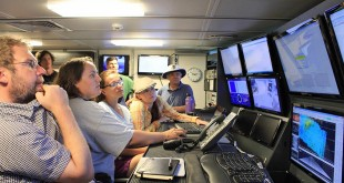 Science party in the R/V Falkor control room. Credit: Carlie Weiner, SOI.