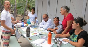 Researchers and community partners at a Kīholo Bay community consultation: Jack Kittinger, Daniela Kittinger, Hal Koike, Bart Wilcox, Uʻilani Macabio, Jenny Mitchell and Mahana Gomes.