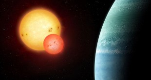 Artist's impression of the Kepler-453 system showing the newly discovered planet on the right and the eclipsing binary stars on the left. (Illustration copyright Mark Garlick)
