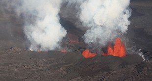Arial photograph of the most recent eruption at the Holuhraun lava field in Iceland. A proportion of the water released as vapor during this eruption is thought to be sourced directly from the Icelandic mantle plume. Dr. Hallis and her colleagues measured Icelandic and Baffin Island rocks where plume water was trapped inside the rock, rather than released into the atmosphere. Photo by Magnús Tumi Guðmundsson.
