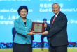 UH Mānoa Chancellor Robert Bley-Vroman accepts the award for Confucius Institute of the Year: 2015 from the People's Republic of China Vice Premier Liu Yandong.