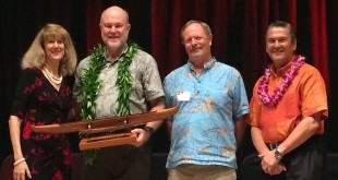 (L to r): Debbie Zimmerman, 'Elele Program Director; SOEST Dean Brian Taylor; SOEST Associate Dean Alexander Shor; and George D. Szigeti, president and CEO of the Hawaii Tourism Authority. Photo credit: Hawaii Tourism Authority