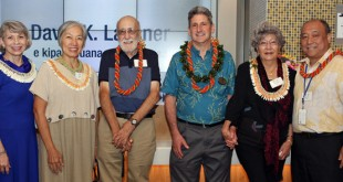 Celebrating donors who have made gifts to the UH IT Center, from left, UH Foundation President and CEO Donna Vuchinich, donor Becky Kam-Locascio, donor Anthony Locascio, UH President and donor David Lassner, donor Frances Yee and UH Vice President for Information Technology and Chief Information Officer Garret Yoshimi (photo courtesy of UH Foundation)