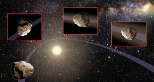 Artist's impression. An asteroid's orbit is altered as it passes close to Jupiter, Earth or Venus, such that its new orbit takes it near the Sun. The intense heat from the Sun causes the asteroid's surface to expand and fracture, and some of the material breaks off. As the surface material disintegrates, it creates dust and pebbles that spread out along the asteroid's orbit with time. If the orbit of the dust and pebbles ever intersects Earth, it can create a meteor shower. Art by Karen Teramura.