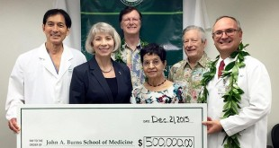 From left, Thomas Kosasa, UH Foundation president and CEO Donna Vuchinich, University Health Partners of Hawaiʻi CFO Chip Ellis, Santosh Sharma; John A. Burns School of Medicine Dean Jerris Hedges and OB-GYN department chair Ivica Zalud.