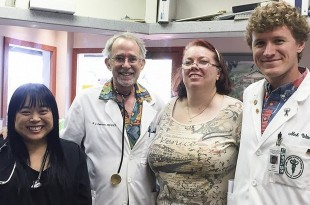 Third-year medical student Nash Witten, right, shown enjoying his neighbor island clerkship training, supported by The Queen's Health Systems. Also pictured at Waikoloa Medical Arts, from left, Linda Robertson, Stewart Lawrence and Chris Tom.
