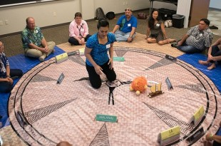 Participants in the Mālama Honua Worldwide Voyage, along with UH administrators, students and staff, met at UH Hilo on February 12 to discuss the integration of experience and knowledge gained on the voyage into UH curriculum. (photo by Bob Douglas, UH Hilo Stories)