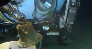 HURL submersibles recovered the I-400 bronze bell. Credit: UH/ HURL.