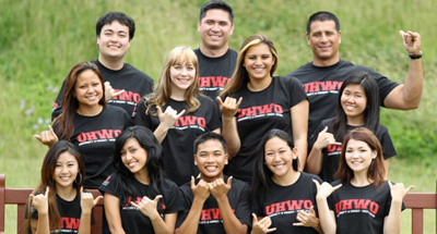 group of students in UHWO shirts