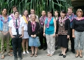 group of students wearing lei