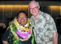Lui Hokoana in lei and former boss Douglas Dykstra