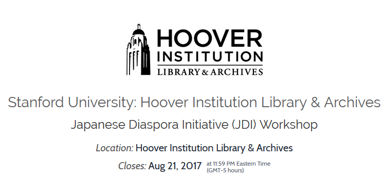 Workshop announcement by the Japanese Diaspora Initiative at Stanford University