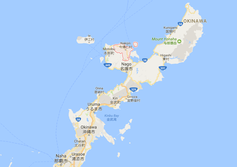 Google Maps showing the location of Nakijin-son