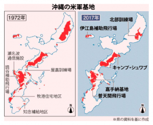 Two images showing the locations of the United States military bases in Okinawa; one in 1972, and the other is 2017
