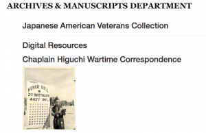 Digital Resources Chaplain Higuchi Wartime Correspondence