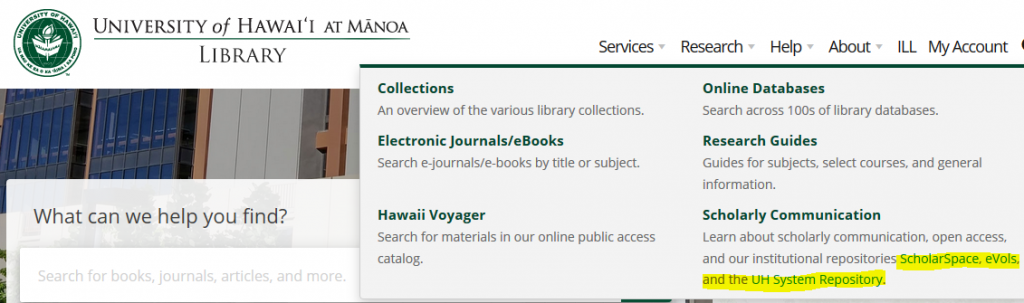 University of Hawaii at Manoa Library Homepage