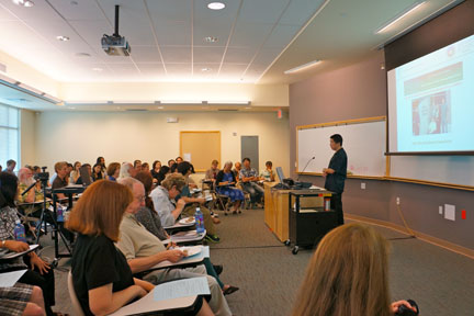 Dr. Chen&#039;s group drew a large audience in a presentation on February 23, in an entertaining and informative session sprinkled with frequent laughter.
