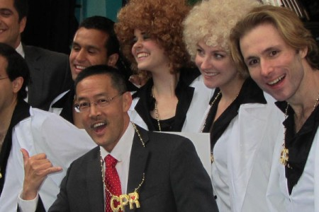 "Dr. Inaba boogied and flashed a shaka with the ""Stayin' Alive"" Dancers in NYC"