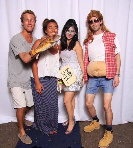"Halloween MD Student Fun: Reis Harney with a fish hand, Ashley Aratani, Krista as ""bath salts zombie,"" and Zack Chancer as a redneck."