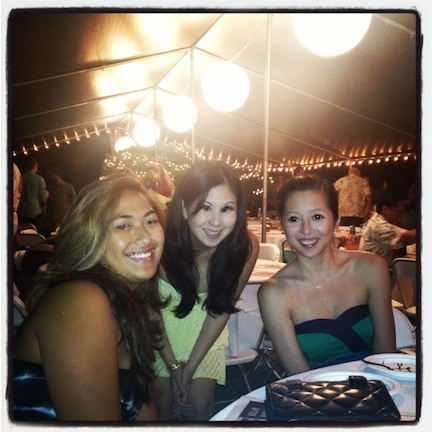 Attending Reis Harney's wedding on O`ahu's North Shore: Ashley Aratani, Krista and Tiffany Lai