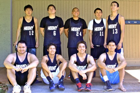 Aaron Hoo with his recreational basketball team.