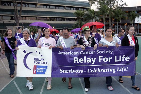 Relay for LIfe march at the University of Hawaii Manoa athletic field.