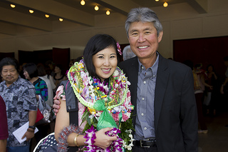 Dr. Krista Kiyosaki of Hilo and her father. Krista was President of the MD Class 2013.
