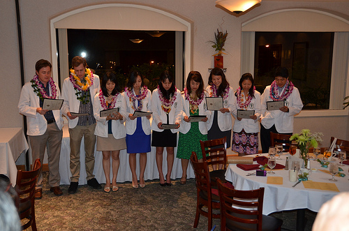 GHHS class of 2014 taking the GHHS Pledge.  L to R:  Benjamin Greidanus, Ryder Onopa, Jenny Chan, Malia Takeuchi, Jodi Kagihara, Jennifer Lee, Mazie Tsang, Kristen Teranishi, Jon Ishii. (Absent - Trevor Grace)
