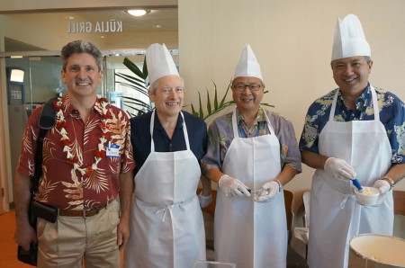 UH Interim President David Lassner with Dean Hedges, Dr. Lew and Dr. Burgess.