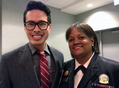 Surgeon General Regina Benjamin and Jacques Ambrose- Jacques Ambrose, MS4, and 18th Surgeon General of the United States, Dr. Regina Benjamin at the Minority Affairs Section meeting.