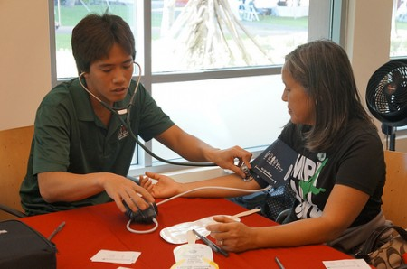 Blood pressure checks by our medical students were one of several health screening services available at the fair.