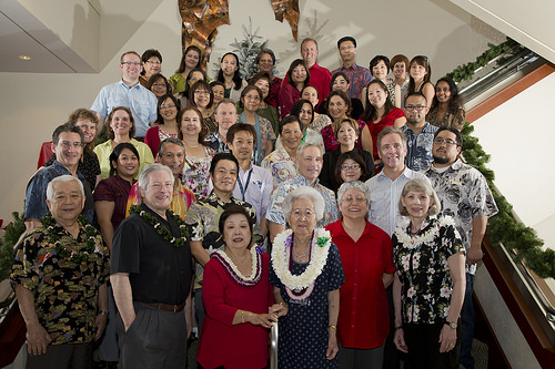 Mrs. Uyeda and her niece surrounded by JABSOM and UH Foundation leadership and members of the Department of Geriatric Medicine.