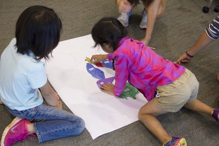 The kids placed the internal organs correctly onto a piece of paper where they had traced their body.
