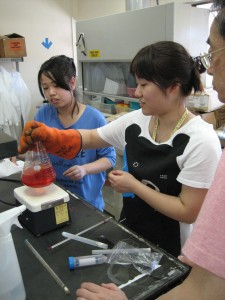 Niigata students at UH Mānoa preparing culture media to test Waikiīkī seawater.