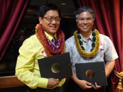Faculty Inductees (L-R).  Dr. Chad Koyanagi, Assistant Professor of Psychiatry.  Dr. Richard Kasuya, Associate Dean of Education and Professor of Medicine.