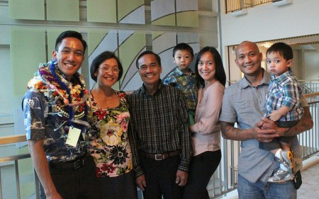 Gabriel Lapid was joined at the `Imi Completion Ceremony by his family from Guam.