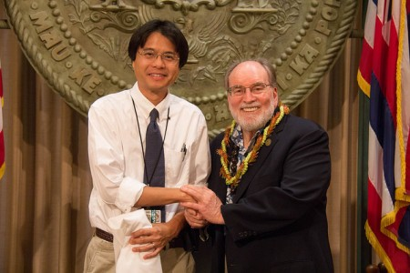 Dr. Guerrero with Governor Abercrombie at the bill signing ceremony. Governor's Office Photo.